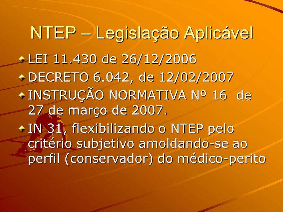 NTEP – Legislação Aplicável