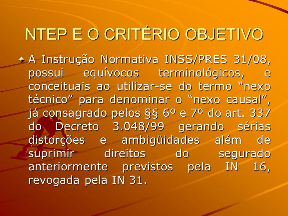 NTEP E O CRITÉRIO OBJETIVO