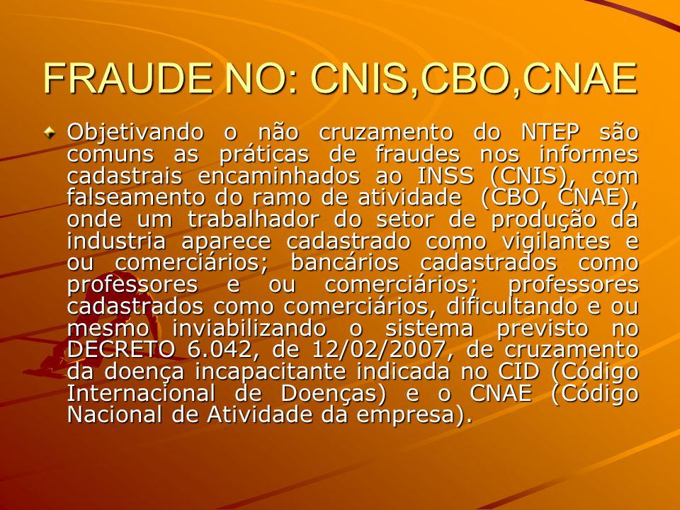 FRAUDE NO: CNIS,CBO,CNAE