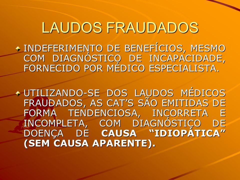 LAUDOS FRAUDADOS INDEFERIMENTO DE BENEFÍCIOS, MESMO COM DIAGNÓSTICO DE INCAPACIDADE, FORNECIDO POR MÉDICO ESPECIALISTA.