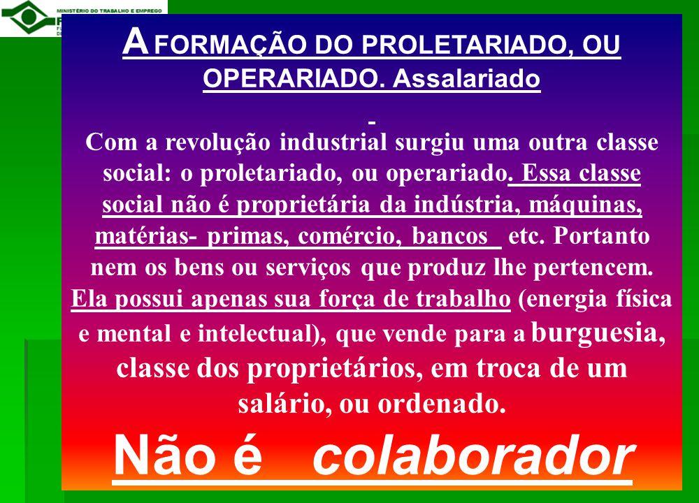 A FORMAÇÃO DO PROLETARIADO, OU OPERARIADO. Assalariado
