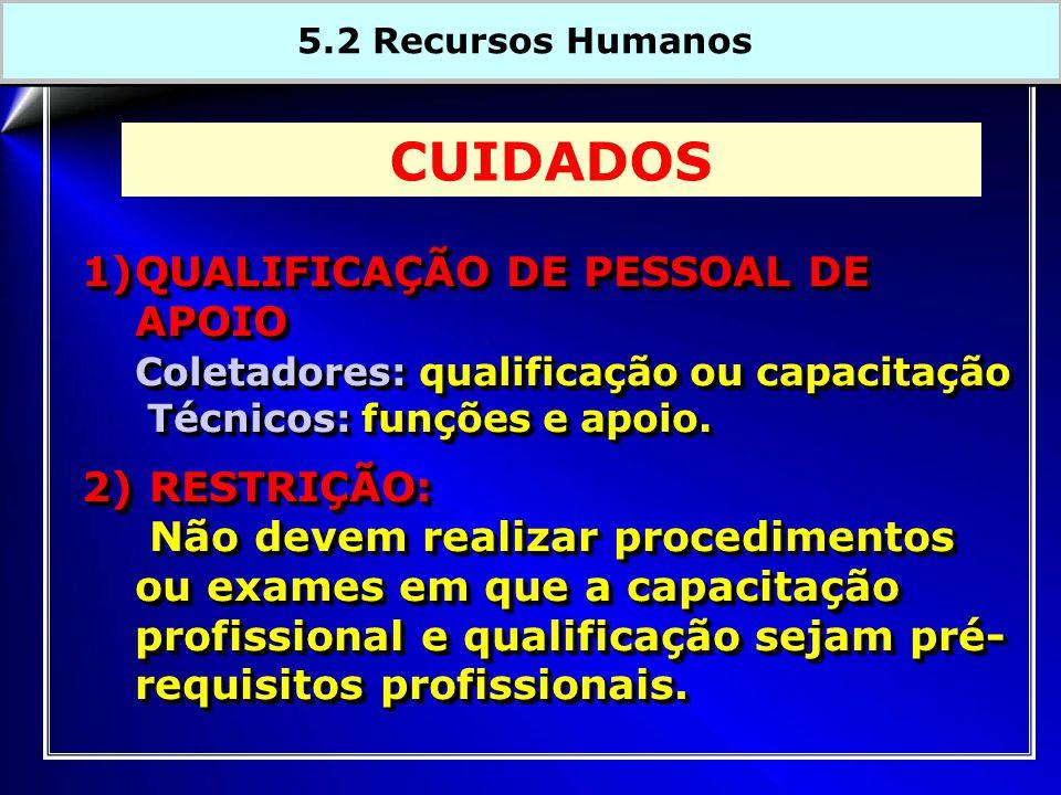 CUIDADOS QUALIFICAÇÃO DE PESSOAL DE APOIO