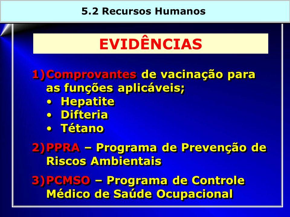 EVIDÊNCIAS Comprovantes de vacinação para as funções aplicáveis;