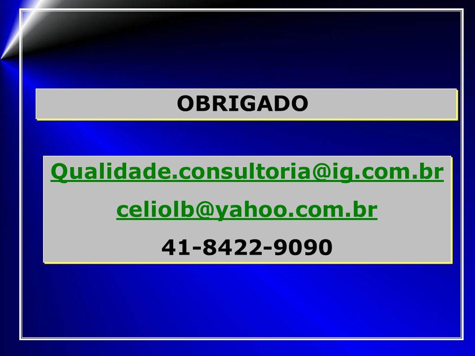 OBRIGADO Qualidade.consultoria@ig.com.br celiolb@yahoo.com.br 41-8422-9090