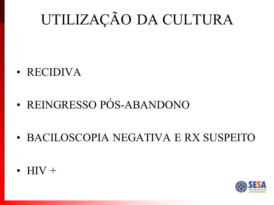 UTILIZAÇÃO DA CULTURA RECIDIVA REINGRESSO PÓS-ABANDONO
