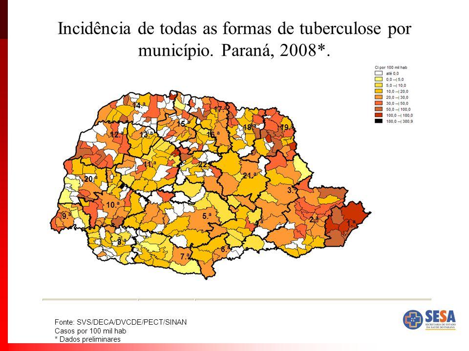 Incidência de todas as formas de tuberculose por município