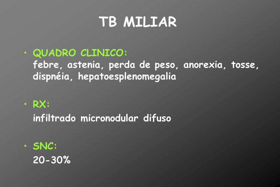 TB MILIAR QUADRO CLINICO: febre, astenia, perda de peso, anorexia, tosse, dispnéia, hepatoesplenomegalia.