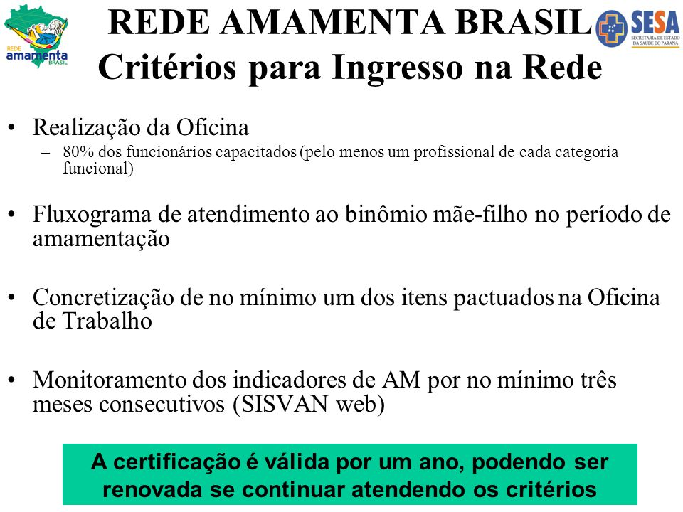 REDE AMAMENTA BRASIL Critérios para Ingresso na Rede