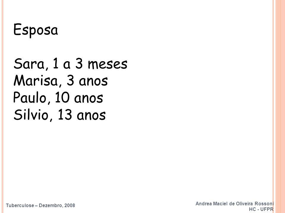 Esposa Sara, 1 a 3 meses Marisa, 3 anos Paulo, 10 anos Silvio, 13 anos