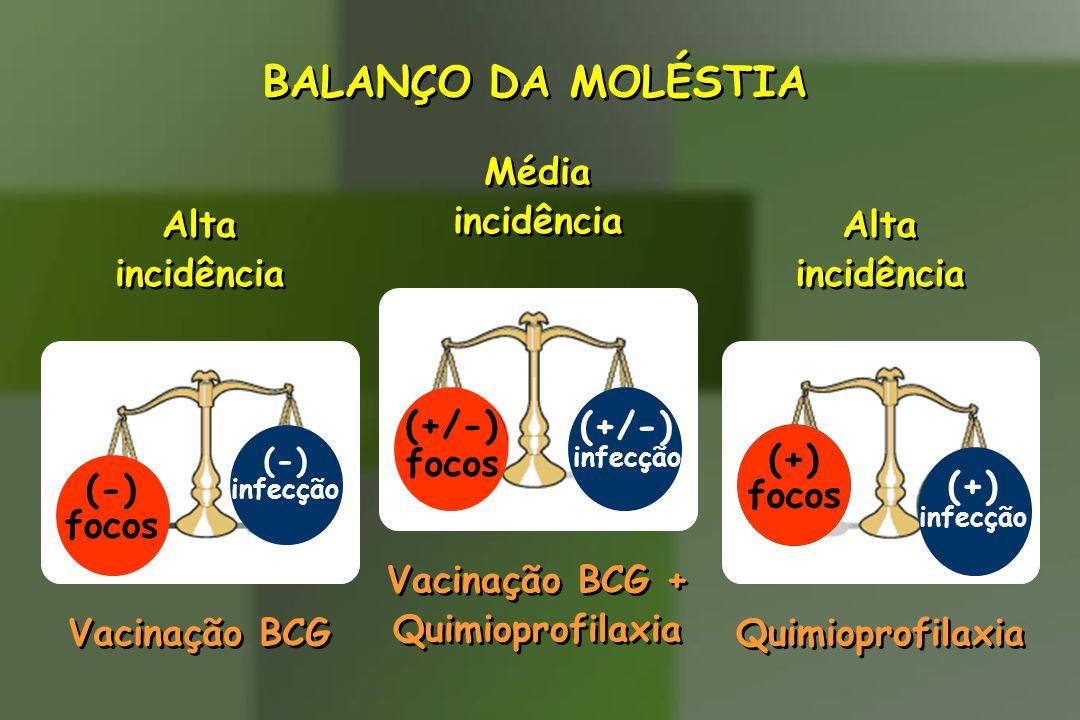 BALANÇO DA MOLÉSTIA (+/-) focos Média incidência Vacinação BCG +
