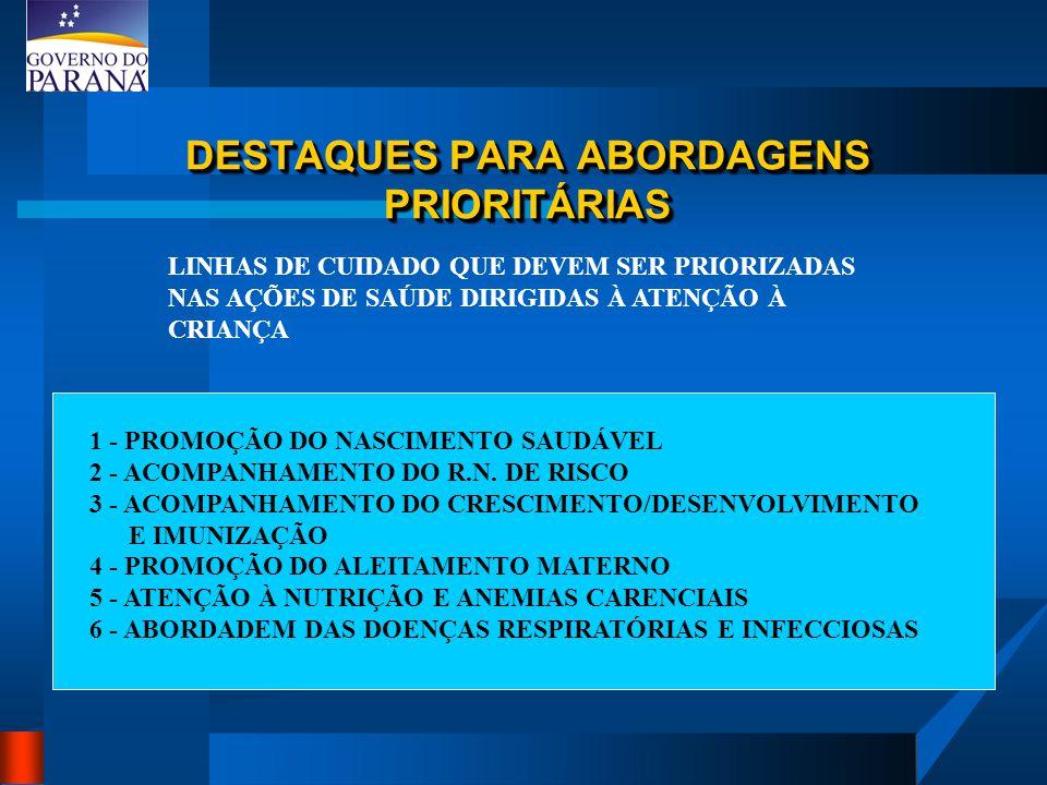 DESTAQUES PARA ABORDAGENS PRIORITÁRIAS