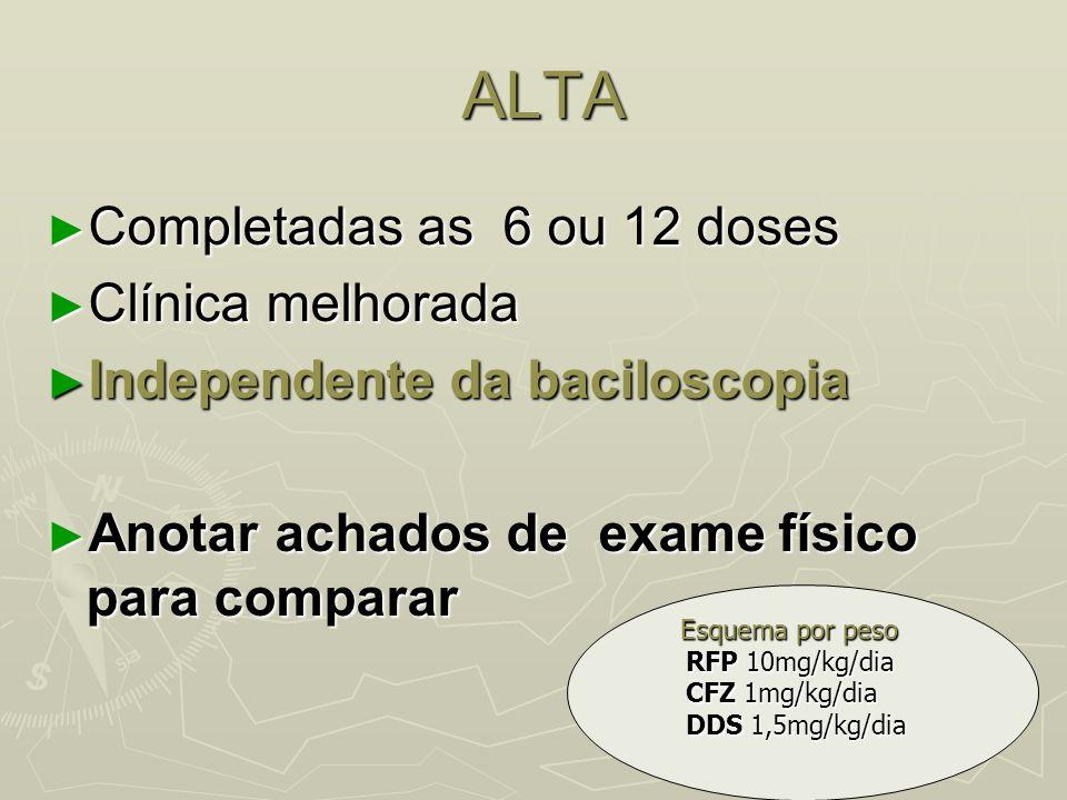 ALTA Completadas as 6 ou 12 doses Clínica melhorada
