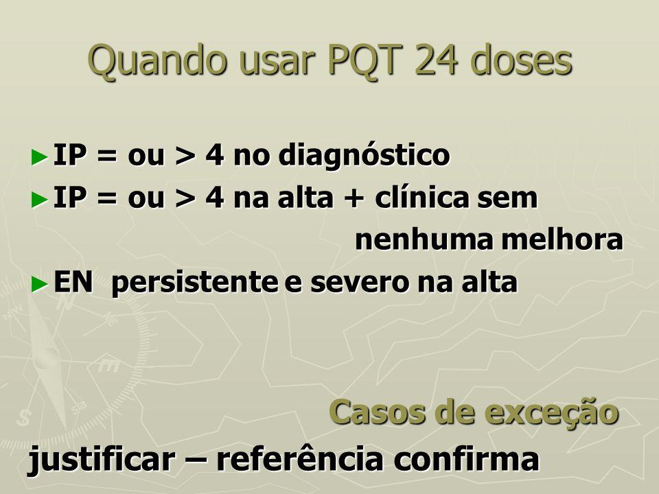Quando usar PQT 24 doses justificar – referência confirma