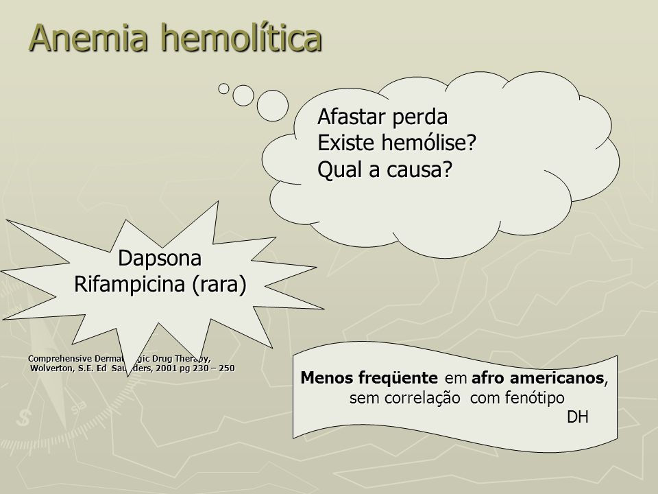 Anemia hemolítica Afastar perda Existe hemólise Qual a causa Dapsona