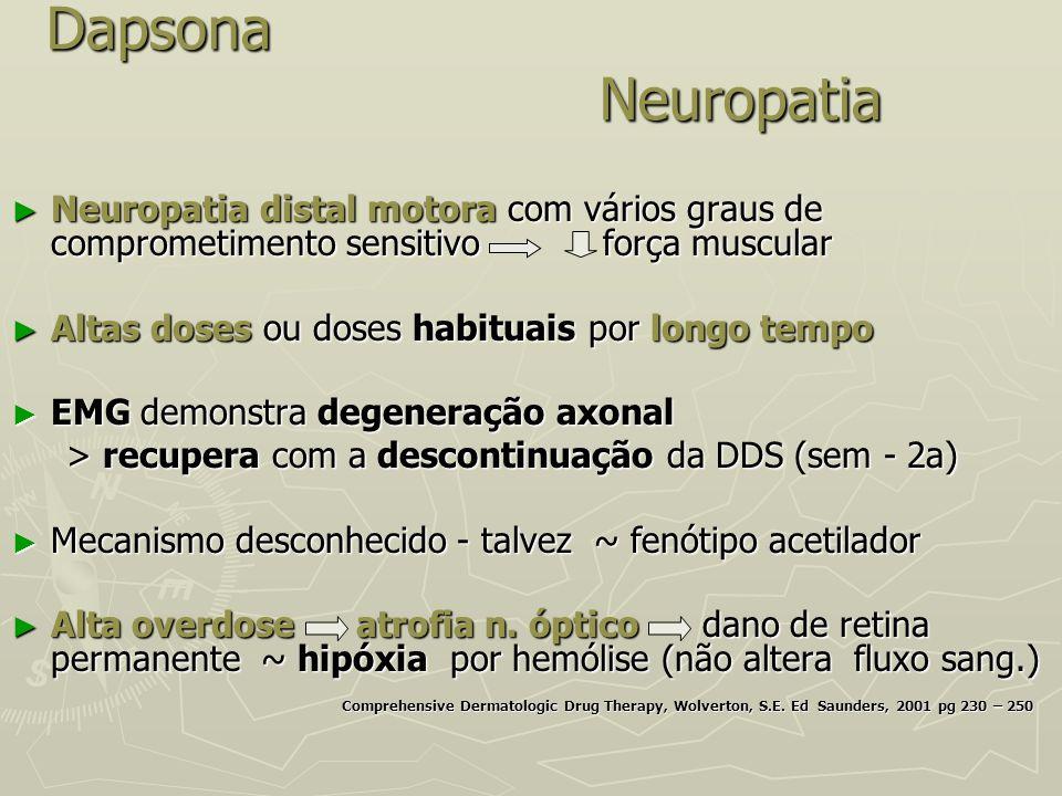 Dapsona Neuropatia Neuropatia distal motora com vários graus de comprometimento sensitivo força muscular.