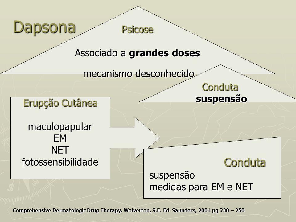 Dapsona Psicose Associado a grandes doses Conduta suspensão