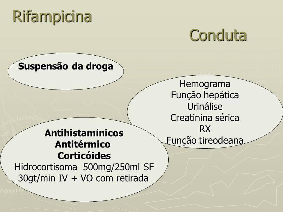 Rifampicina Conduta Suspensão da droga Hemograma Função hepática