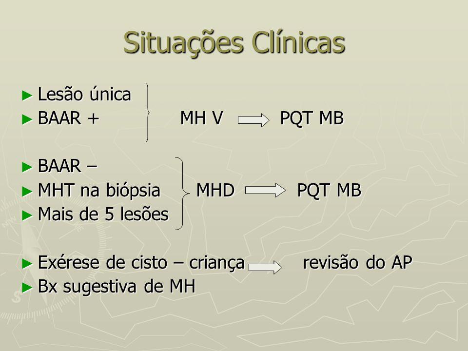 Situações Clínicas Lesão única BAAR + MH V PQT MB BAAR –
