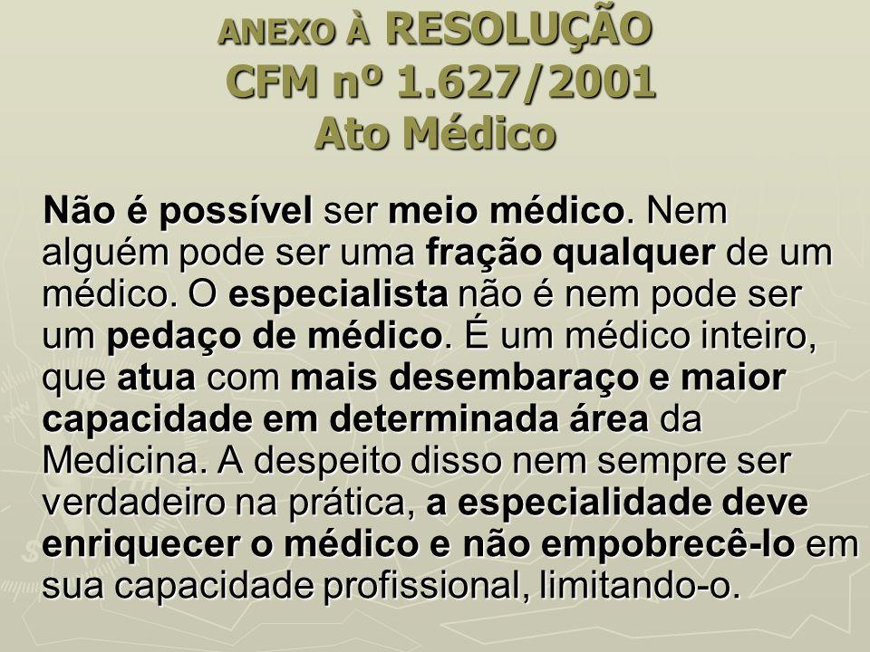 ANEXO À RESOLUÇÃO CFM nº 1.627/2001 Ato Médico