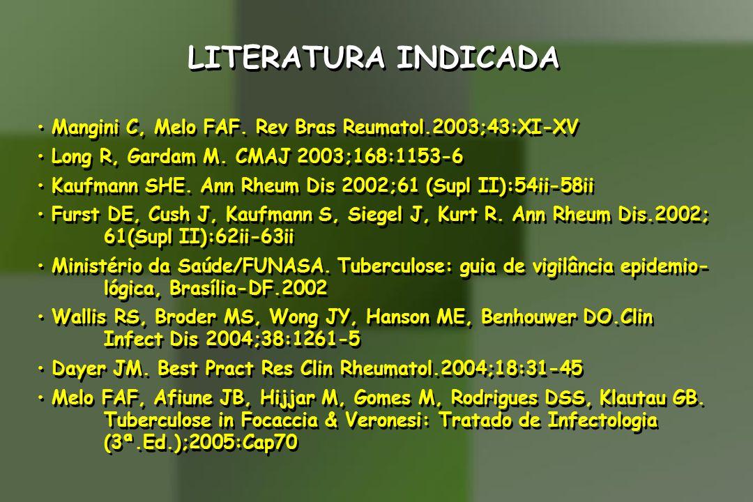 LITERATURA INDICADA Mangini C, Melo FAF. Rev Bras Reumatol.2003;43:XI-XV. Long R, Gardam M. CMAJ 2003;168:1153-6.