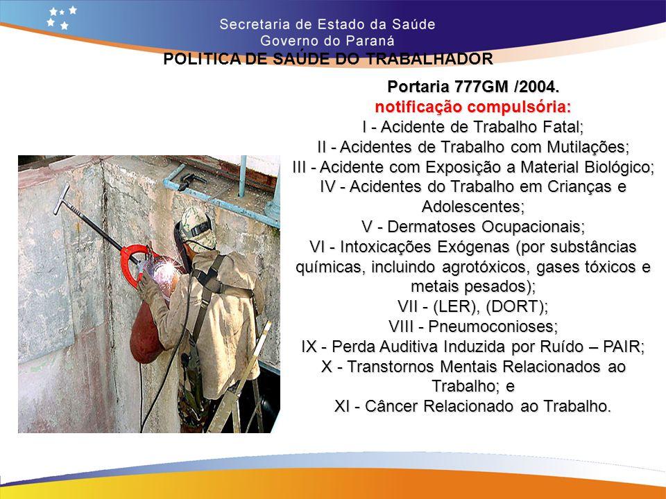 POLITICA DE SAÚDE DO TRABALHADOR notificação compulsória: