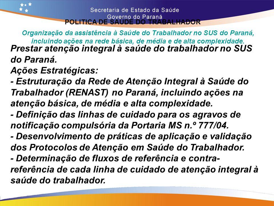 Prestar atenção integral à saúde do trabalhador no SUS do Paraná.