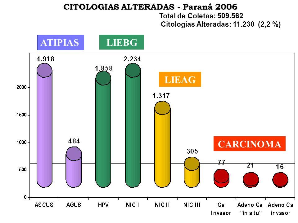 ATIPIAS LIEBG LIEAG CARCINOMA CITOLOGIAS ALTERADAS - Paraná 2006