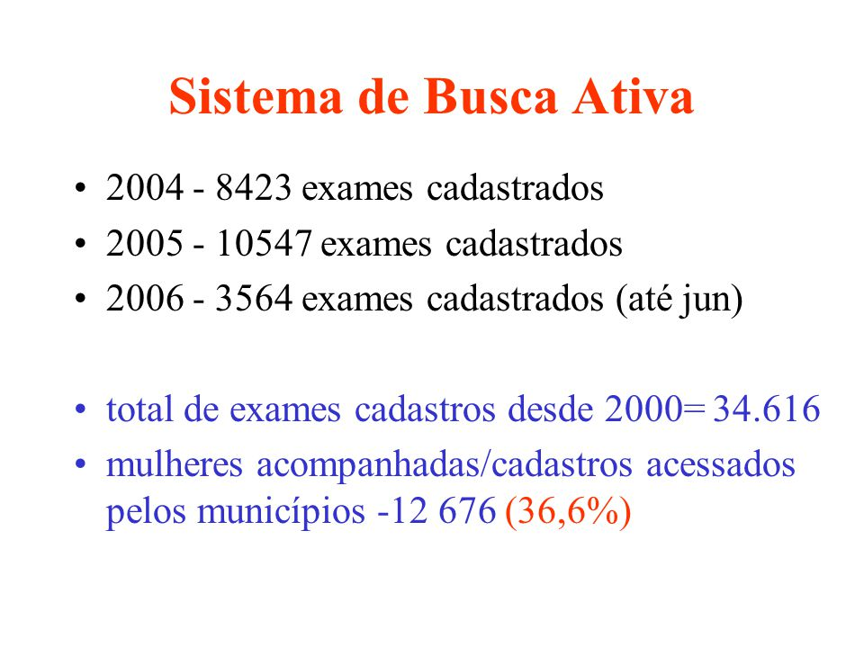 Sistema de Busca Ativa 2004 - 8423 exames cadastrados