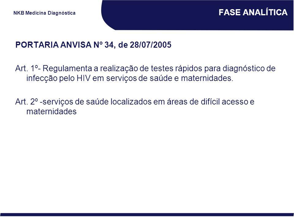 FASE ANALÍTICA PORTARIA ANVISA Nº 34, de 28/07/2005.