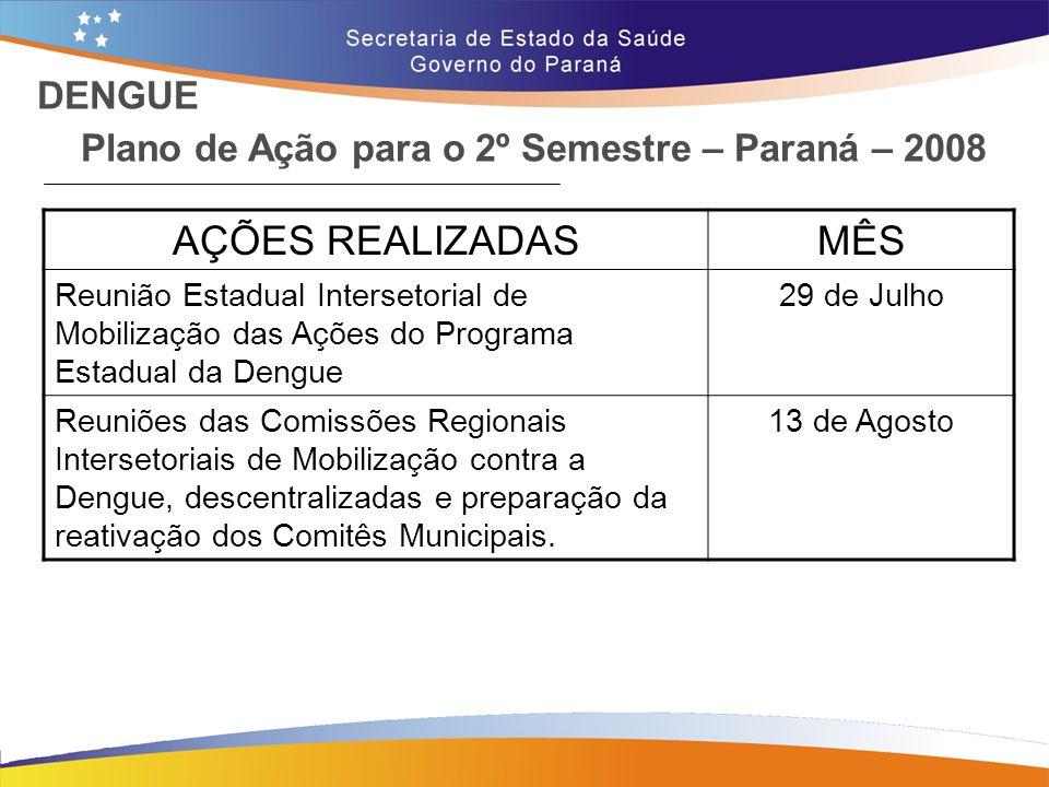 Plano de Ação para o 2º Semestre – Paraná – 2008