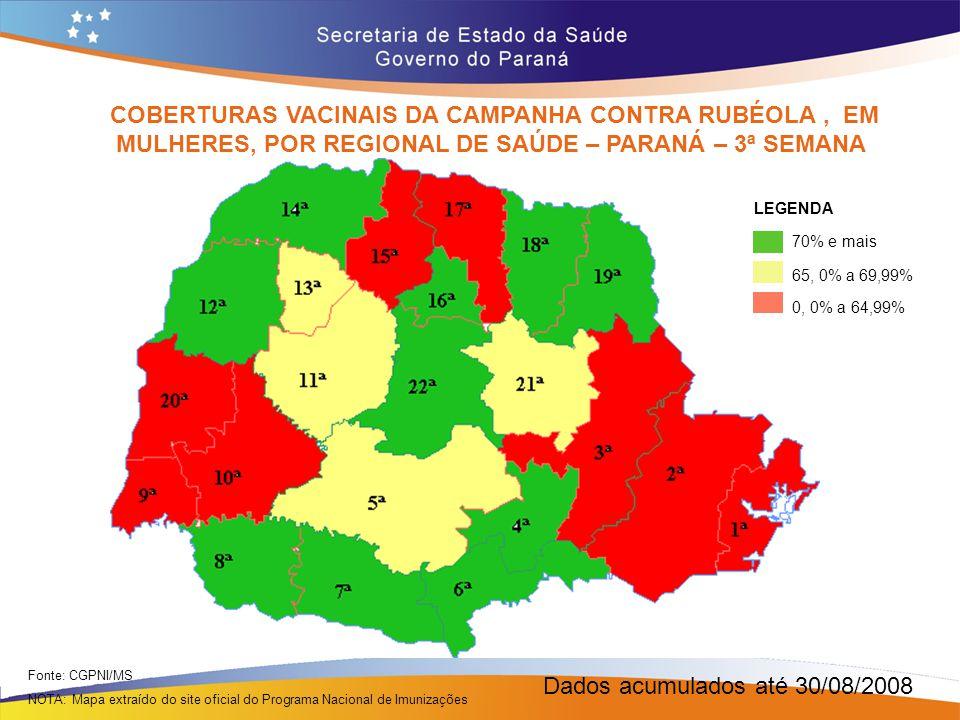 Dados acumulados até 30/08/2008