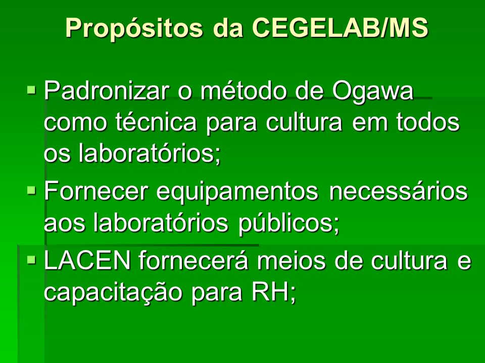 Propósitos da CEGELAB/MS