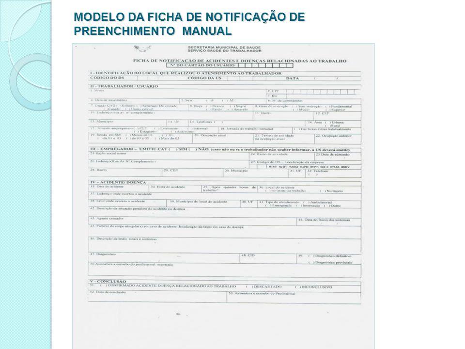MODELO DA FICHA DE NOTIFICAÇÃO DE PREENCHIMENTO MANUAL