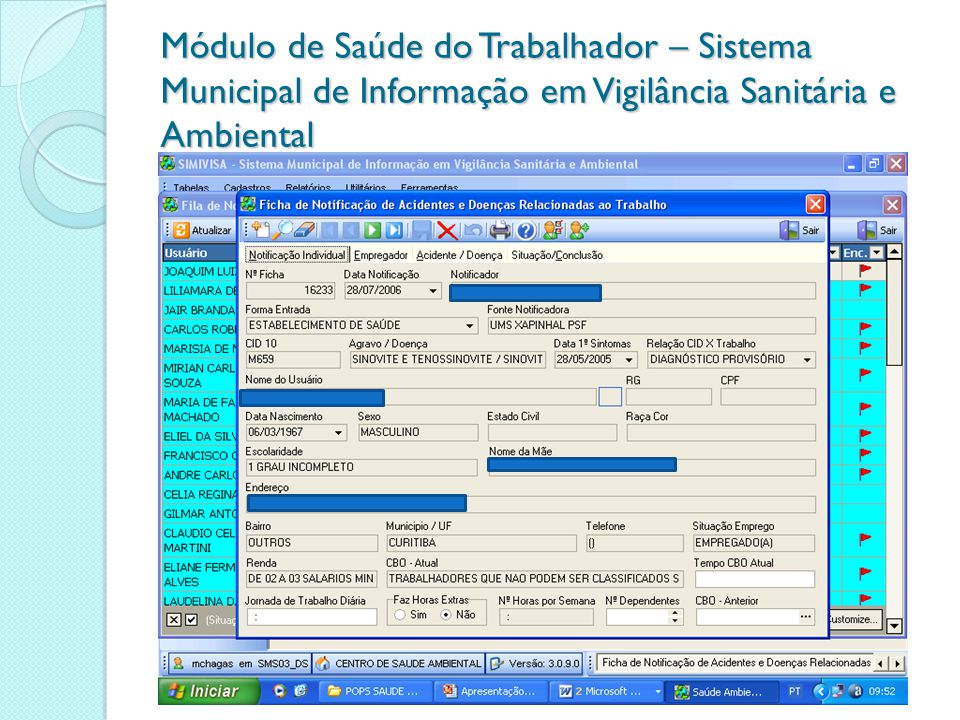Módulo de Saúde do Trabalhador – Sistema Municipal de Informação em Vigilância Sanitária e Ambiental