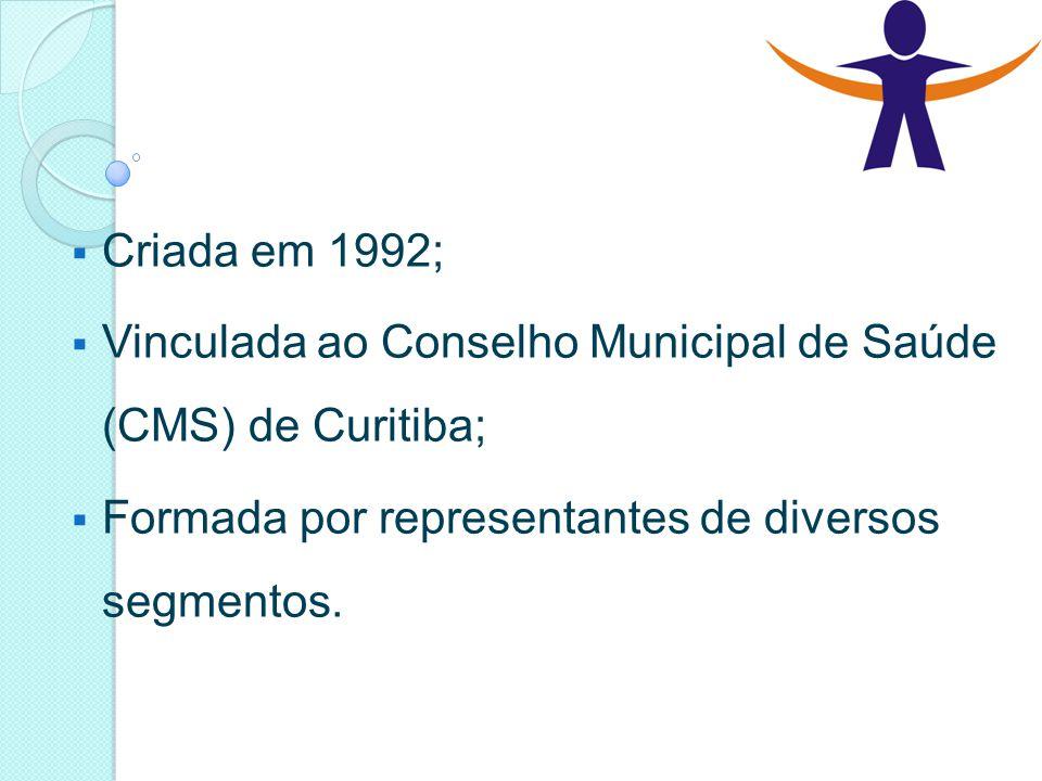 Criada em 1992; Vinculada ao Conselho Municipal de Saúde (CMS) de Curitiba; Formada por representantes de diversos segmentos.