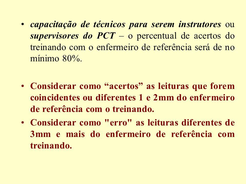 capacitação de técnicos para serem instrutores ou supervisores do PCT – o percentual de acertos do treinando com o enfermeiro de referência será de no mínimo 80%.