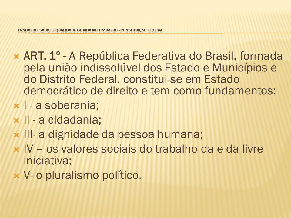 TRABALHO, SAÚDE E QUALIDADE DE VIDA NO TRABALHO - CONSTITUIÇÃO FEDERAL