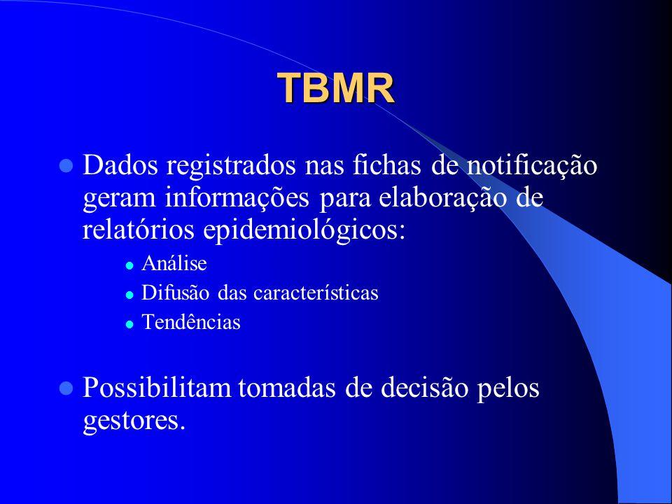 TBMR Dados registrados nas fichas de notificação geram informações para elaboração de relatórios epidemiológicos: