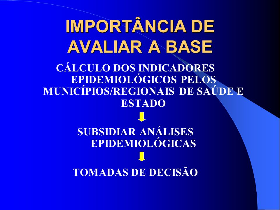 IMPORTÂNCIA DE AVALIAR A BASE