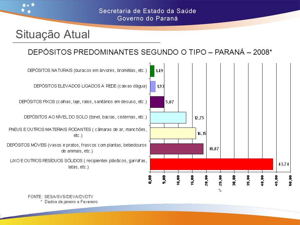 DEPÓSITOS PREDOMINANTES SEGUNDO O TIPO – PARANÁ – 2008*