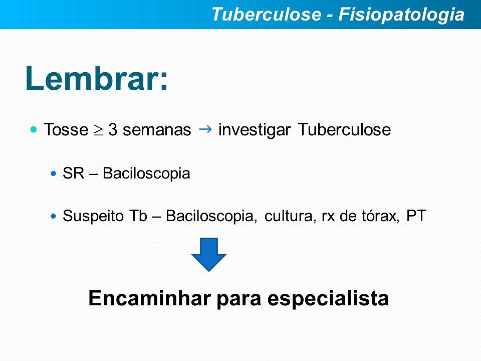 Lembrar: Encaminhar para especialista Tuberculose - Fisiopatologia