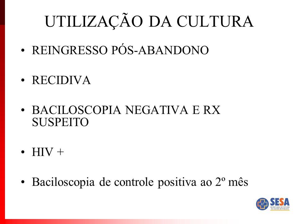 UTILIZAÇÃO DA CULTURA REINGRESSO PÓS-ABANDONO RECIDIVA