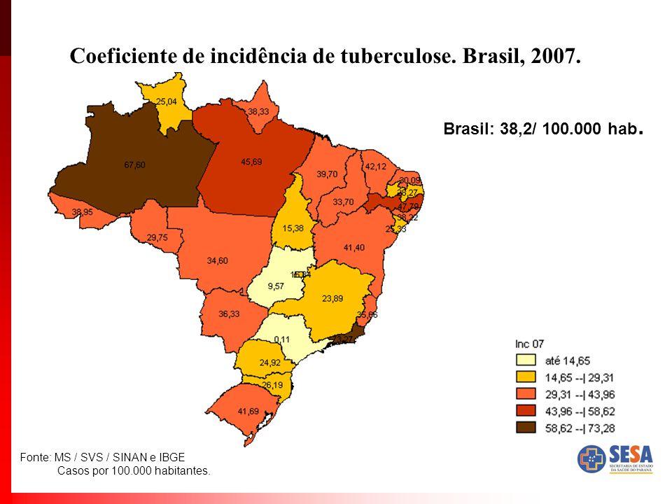Coeficiente de incidência de tuberculose. Brasil, 2007.