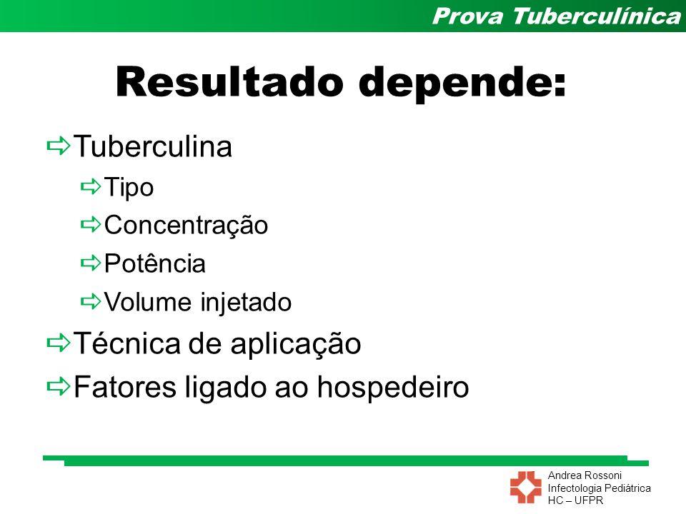 Resultado depende: Tuberculina Técnica de aplicação