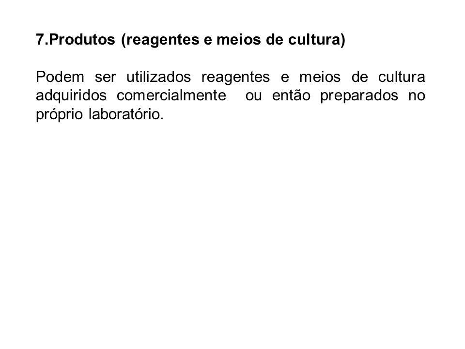 7.Produtos (reagentes e meios de cultura)