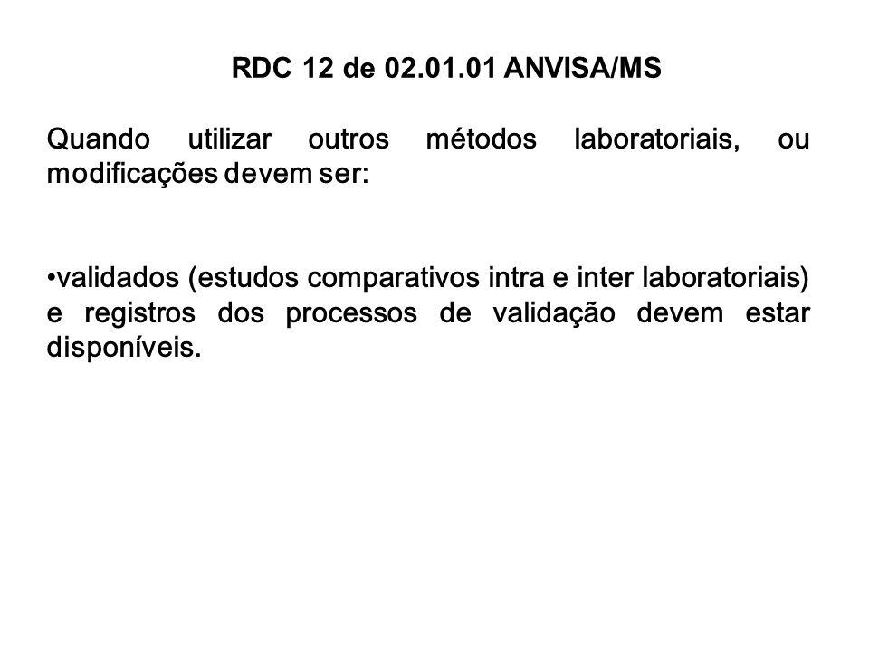 RDC 12 de 02.01.01 ANVISA/MS Quando utilizar outros métodos laboratoriais, ou modificações devem ser:
