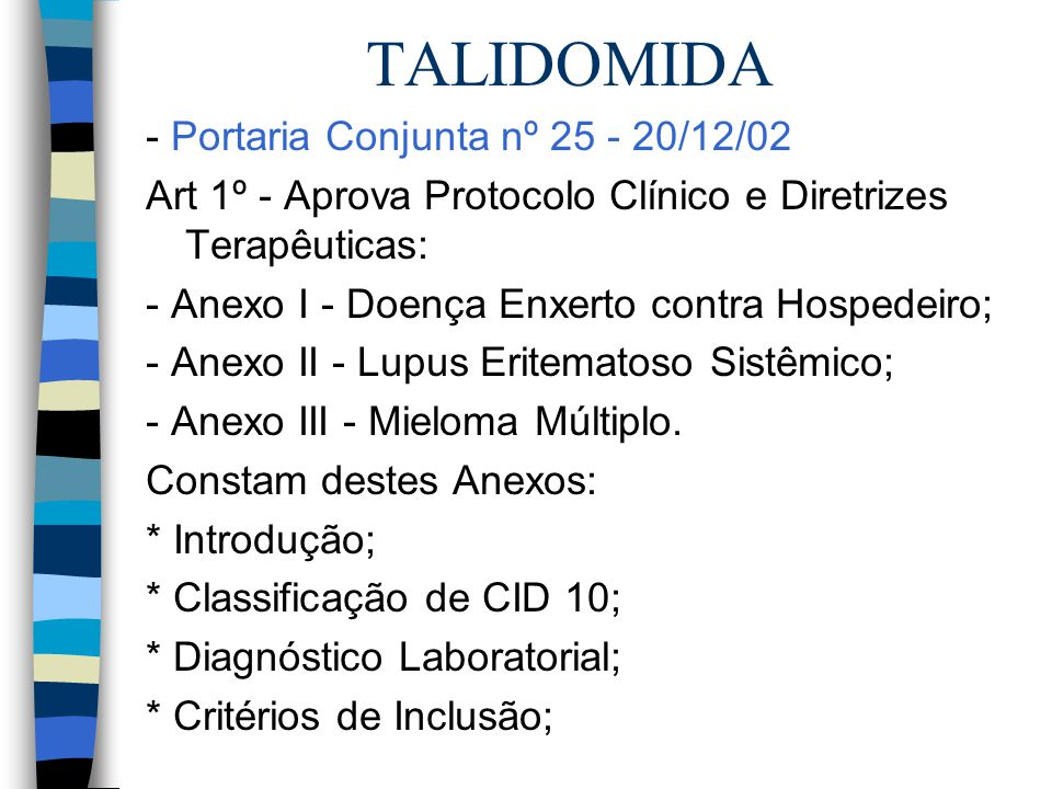 TALIDOMIDA - Portaria Conjunta nº 25 - 20/12/02