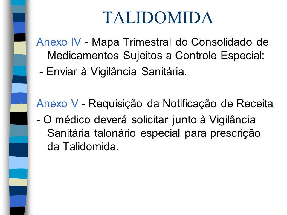 TALIDOMIDA Anexo IV - Mapa Trimestral do Consolidado de Medicamentos Sujeitos a Controle Especial: - Enviar à Vigilância Sanitária.