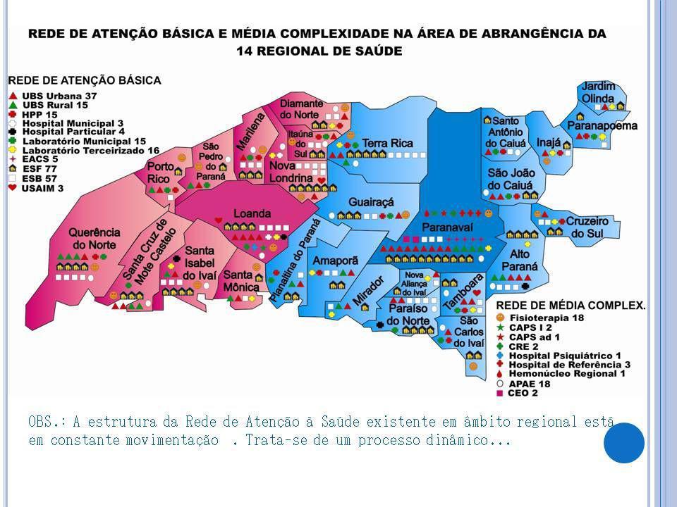 OBS.: A estrutura da Rede de Atenção à Saúde existente em âmbito regional está em constante movimentação .