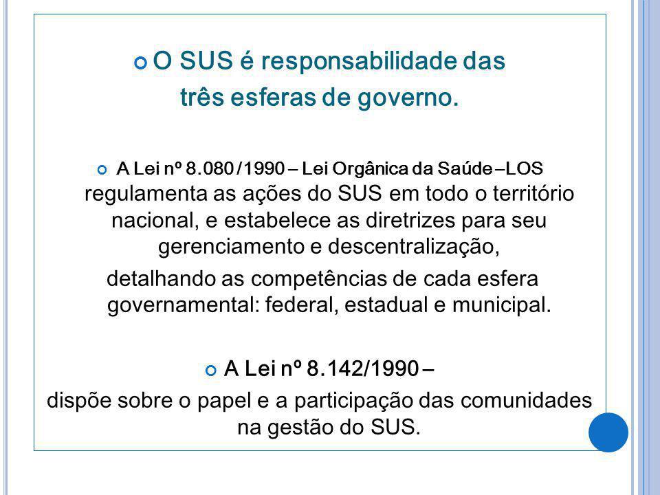 O SUS é responsabilidade das três esferas de governo.
